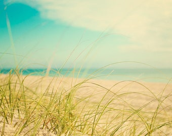 Beach Photography, Coastal Home Decor, Sea Grass Photograph, Ocean Picture, Seaside Photo, Blue Tan Green