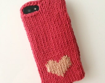 Red knit phone sweater case with heart for iPhone