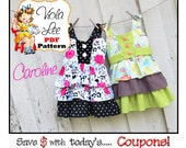 Caroline... Girl's Dress Pattern, Girl's Dress pdf Sewing Pattern, Toddler Dress Pattern, Infant Dress Pattern, Girl's Jumper Pattern