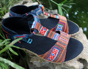 T Strap Vegan Womens Sandal In Hmong Vintage Embroidery and Indigo Batik - Lindsay