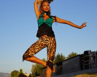 Leopard Leggings with Cutouts and Lace