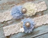 Blue Wedding Garter, Wedding Garter Set, Bridal Garter, Lace Garter, Custom Garter, Toss Garter Included, Something Blue