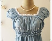 My Baby Doll Sweet Summer Cotton Pale Denim Tunic Dress Retro Bohemian Dress Hippie Dress -Size XS-S