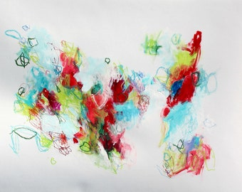 """Intuitive Original Abstract Painting Mixed Media on Paper """"Cherry Picking"""""""