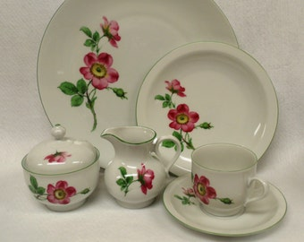 ON SALE 40 Piece Bareuther Waldsassen Luncheon Set, Wild Roses,Service for 12,
