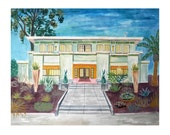 House Illustration - California Home with Egyptian Cat Statues in Art Deco Style