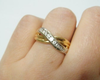 14k .30ct Diamond Wedding Band / Right Hand Bypass Ring