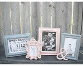 Nursery Decor - PICTURE FRAMES - Baby - Pink and Grey - Shabby Chic - Glass N Backing