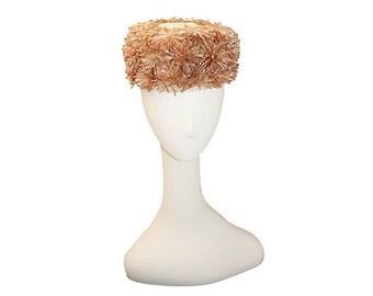 1960s Pillbox Hat, Tan Brown Cream by Juli-Kay, Floral Hat