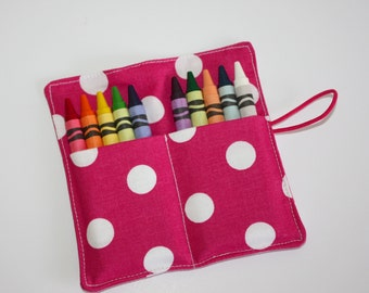 Crayon Roll, Hot Pink with White Polka Dots, Crayon Rollup, holds up to 10 Crayons, Birthday Party Favors
