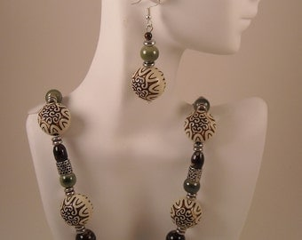 Balling Out of Control beaded Necklace and Earrings
