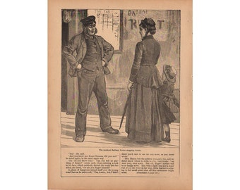 Antique Print 1890 Railroad Porter, Woman, Girl Framable Art Book Page Victorian Artwork