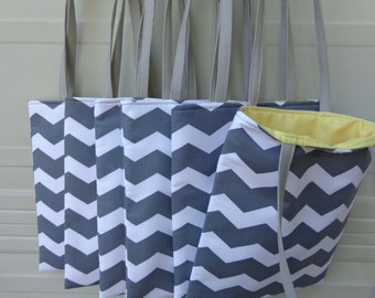 Reversible Tote Bag: Combo 6 Tote Bag Grey Chevron w/ Yellow  ( Ideal for Bridesmaid gifts )