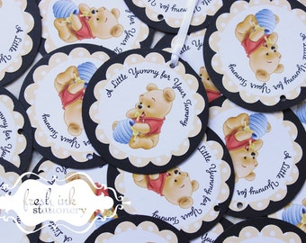 Pooh favor tags etsy baby winnie the pooh personalized favor tags negle Image collections