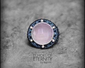 Big Rose Quartz Silver 925 Macrame Ring