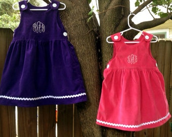 Monogram corduroy dress in pink or purple  for baby/toddler girl