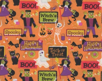 Halloween, Trick or Treat, Halloween Fabric, 1 yard fabric, 03001