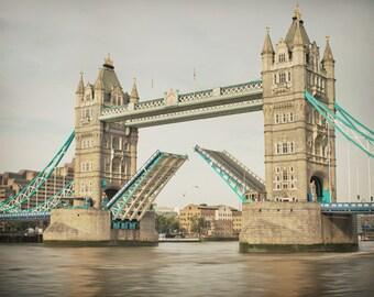 Tower Bridge, London, England photograph. Travel photography, London landmark, River Thames.