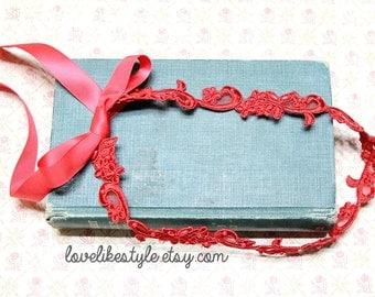 Skinny Red Flower and Pearl Beading Lace with Red Ribbon HeadBand / Skinny Lace Sash, Bridal Sash, Bridesmaid Sash