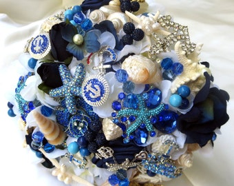 Sea Shell Wedding bouquet, Military Bridal Bouquet, Navy Bridal Bouquet