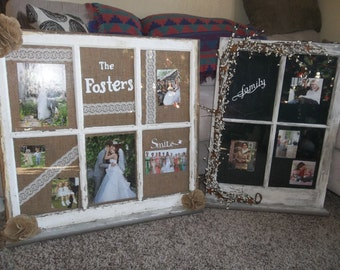 primitive old window picture frame