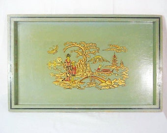 Hollywood Regency Celadon Chinoiserie Wood Serving Tray