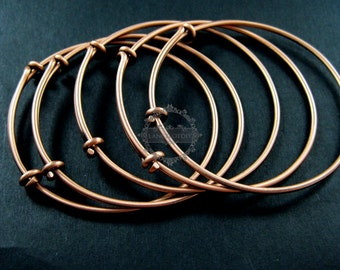 4pcs 65mm diameter copper red brass simple adjustable wiring bracelet for beading DIY jewelry supplies 1900045