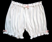 Womens Bloomers - S/M Size - White With Pink Bows