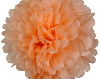 Peach Paper Tissue Pom Poms DYI Wedding Pick your size 8 ""