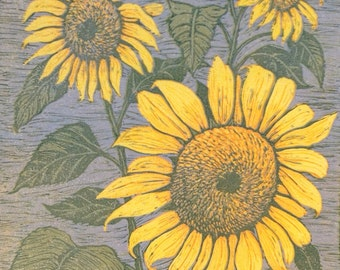 Sunflowers Reduction Block Print