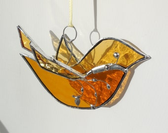 The Happy Bird. Stained Glass Bird. Ornament. Home Decor. Suncatcher.