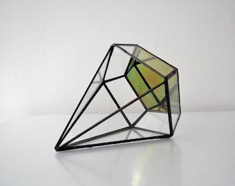 Terrarium, clear glass planter modern industrial geometric planter, pyramid plant holder
