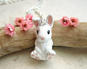 White bunny necklace