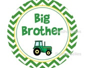 BIG BROTHER Little Brother TRACTOR Shirt Stickers... Personalize with Name or Character...Custom Big Brother Sibling Pregnancy Announcement