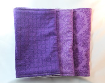 Purple Burp Cloth Set - Set of Three