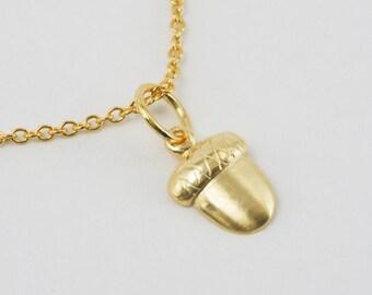 Solid 14K Gold Acorn Pendant