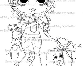 INSTANT DOWNLOAD Digital Digi Stamps Big Eyed  My Bestie Digi Stamp Besties Big Head Dolls Digi IMG254 By Sherri Baldy