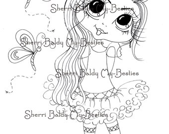 INSTANT DOWNLOAD Digital Digi Stamps Big Eye Big Head Dolls Digi  Bestie Remix 2 Dragonfly By Sherri Baldy