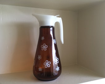 Brown Glass Syrup Pitcher with White Daisies