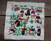 White Vintage Miao Hmong folk art embroidered textile,Tribal Embroided Folk Art,Wall hanging,Home decor