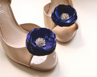 Rhinestone Shoe Clips Blue Shoe Clips Blue Bridal Accessories Flower Rhinestone Wedding Blue Flower Something Blue Nautical Bluette Clips