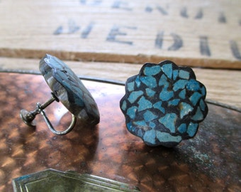 Vintage Earrings / 40s Vintage Turquoise - Teal and Black Mosiac Scallop Button Jewelry