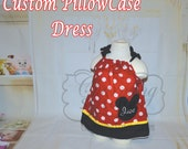 Custom pillow case dress, personalized, mouse,red black and white polka dots, custom monogram