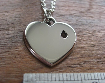 Plain Silver Heart Pendant Necklace with Tear