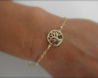 Gold vermeil Tree of life  bracelet on gold-filled chain