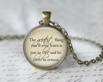 Moulin Rouge Quote Necklace, Movie Quote Pendant, Love Quote Jewelry