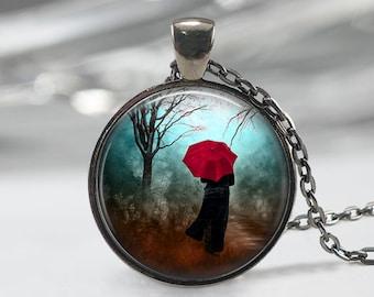 Red Umbrella Painting Necklace, Art Pendant, Fantasy Jewelry