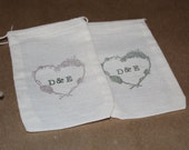 Set of 20 Hand stamped Custom Initials Rustic Wedding Bag Muslin Party Favor Bags Eco Friendly 100% organic