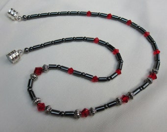 Sparkling Ladies Hematite and Red Crystal Necklace Beaded with Antique Silver Accents 16 Inches long with Sturdy Magnetic Clasp