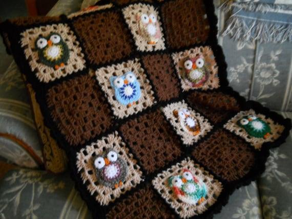 Free Crochet Pattern For Owl Afghan : Owl afghan crochet baby blanket owl nursery grannie